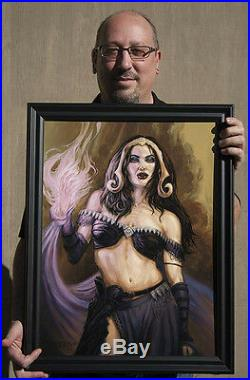 Liliana ORIGINAL oil painting 18x24 MTG, Magic, Planeswalker, horror, by BAXA