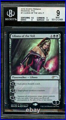 Liliana of the Veil foil RPTQ, BGS 9 MINT. MTG (pop 1 of 6). 5 from BGS 9.5