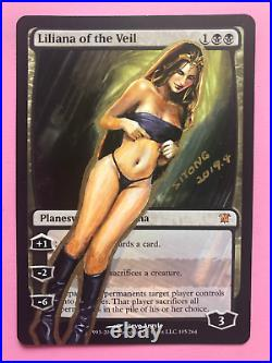Mtg Altered Art Hand Painted Liliana Of The Veil Sexy Girl By Sitong