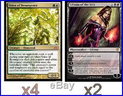 X2 Liliana of the Veil NM x4 Voice of Resurgence SP